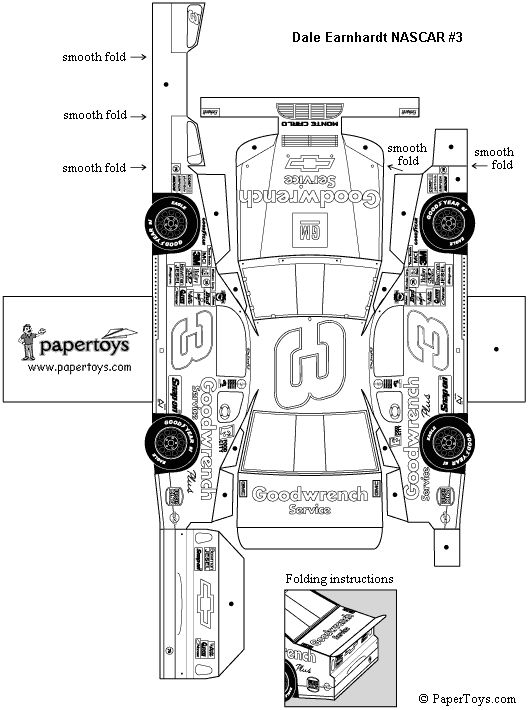 Paper Nascar Car a while-you-wait activity for Pinewood
