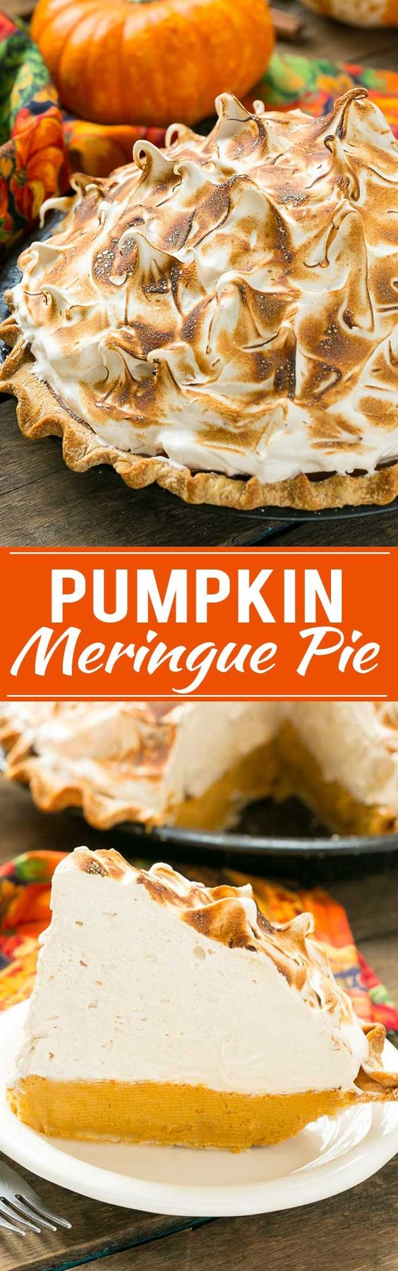 Homemade Pumpkin Meringue Pie Dessert Recipe via Dinner at the Zoo - The most delicious pumpkin pie topped with a mountain of toasted brown sugar meringue. - Favorite EASY Pies Recipes - Brunch Dessert No-Bake + Bake Musts