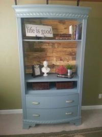 Beautiful Armoire repurposed as open bookcase with pallet ...