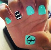 teal and black love nails