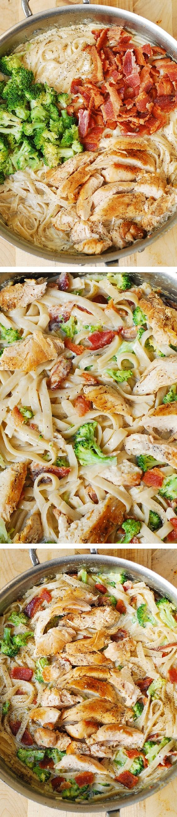 Creamy Broccoli, Chicken Breast, and Bacon Fettuccine Pasta in homemade Alfredo sauce. Easy, delicious pasta dinner!: