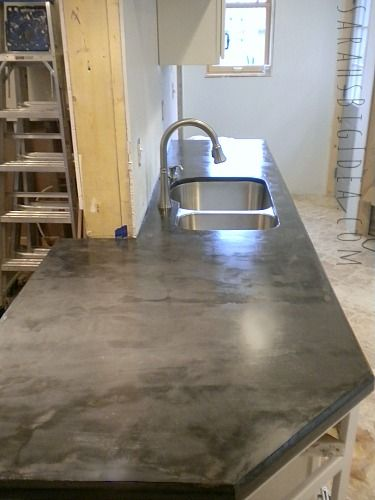 Plywood Countertop Finish Diy Feaux-crete Countertops. Concrete Troweled Over