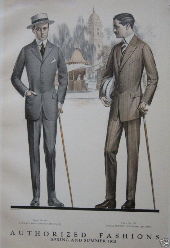 """More men's """"sack suits,"""" 1915.:"""