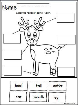 Here is a fun free Label The Reindeer cut and paste