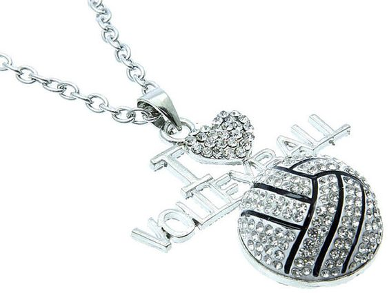 I Heart Volleyball Necklace Bling Bling by GloSpaBoutique