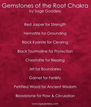 Gems of the Root Chakra by Sage Goddess crystal healing gemstone magic: