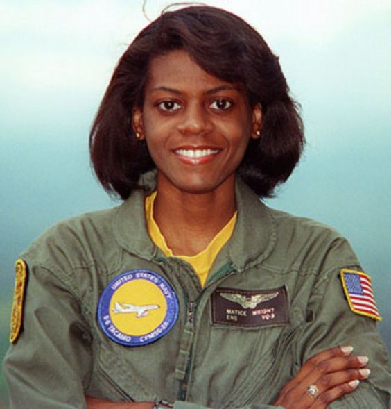 Matice Wright, the U.S. Navy's first black female naval flight officer, is seen when she was assigned to Fleet Air Reconnaissance Squadron (VQ) 3.: