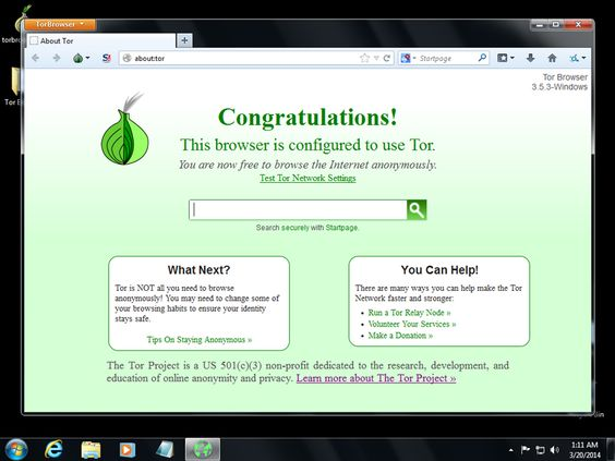 The interface of Tor Browser