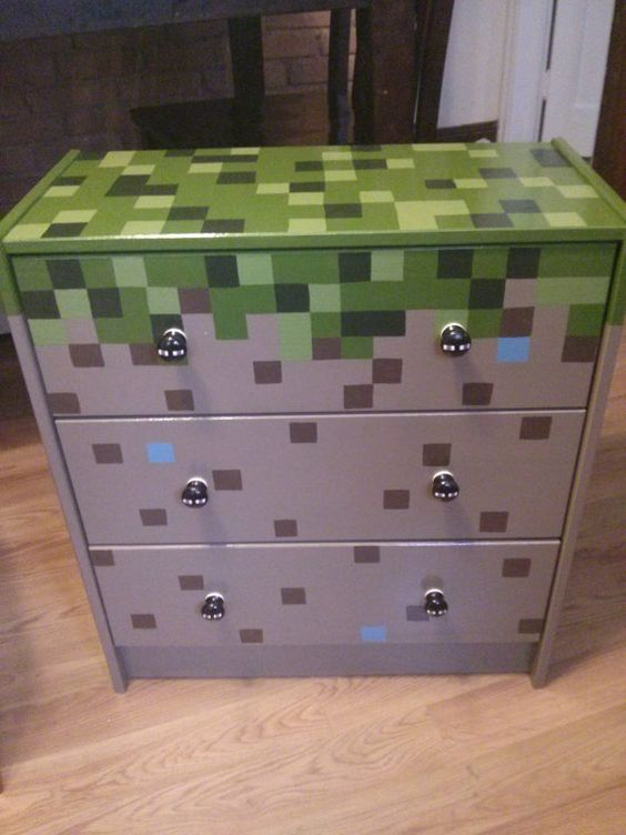 Hand Painted MINECRAFT 3 Drawer Chest by ArtsyFartsi on Etsy  O Room  Pinterest  Pictures