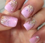 light pink gel with ombr sparkle