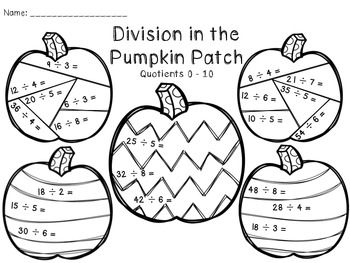Multiplication and Division in the Pumpkin Patch fun