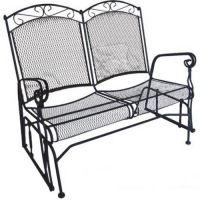 Double Glider Wrought Iron Outdoor Furniture Garden Patio ...