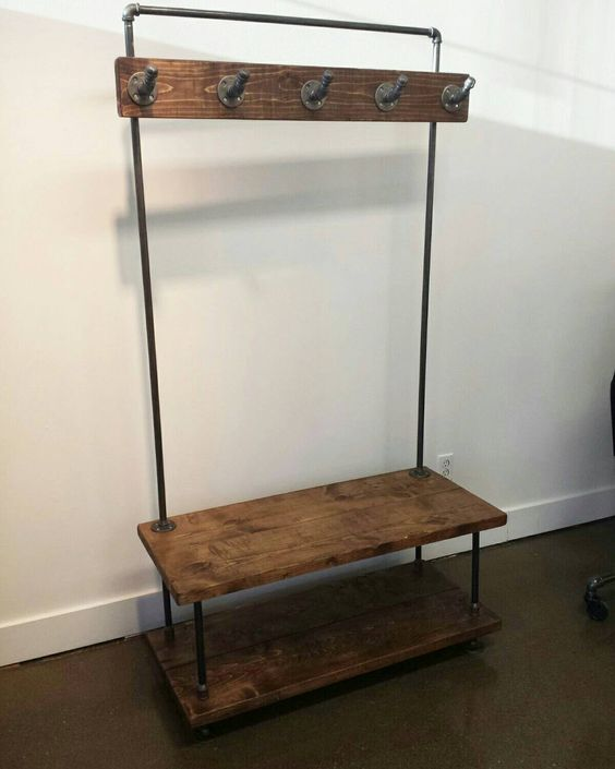 Industrial pipe and wood entry coat rack bench