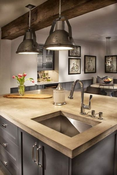farmhouse kitchen island lights Industrial farmhouse kitchen. Here I like the modern island but the rustic beam and recycled