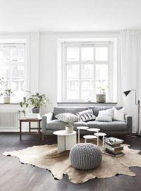 Living room: white walls, white window frames, light grey ...