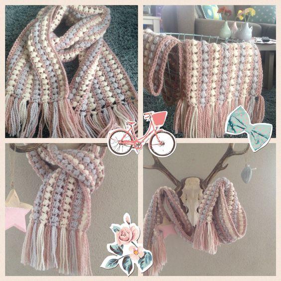 Sjaal gehaakt van Julia zeeman patroon uit Haken en