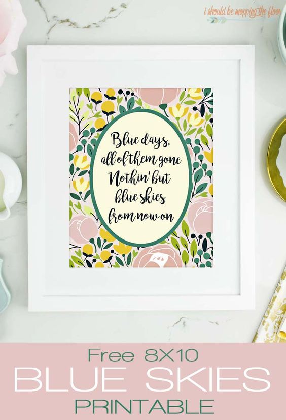 Free Blue Skies Spring Printable via i should be mopping the floor