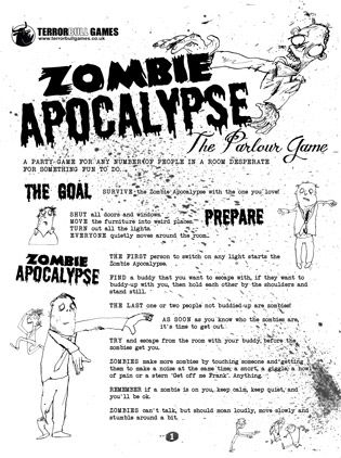 PRINT AND PLAY: ZOMBIE APOCALYPSE, THE PARLOUR GAME. 1st