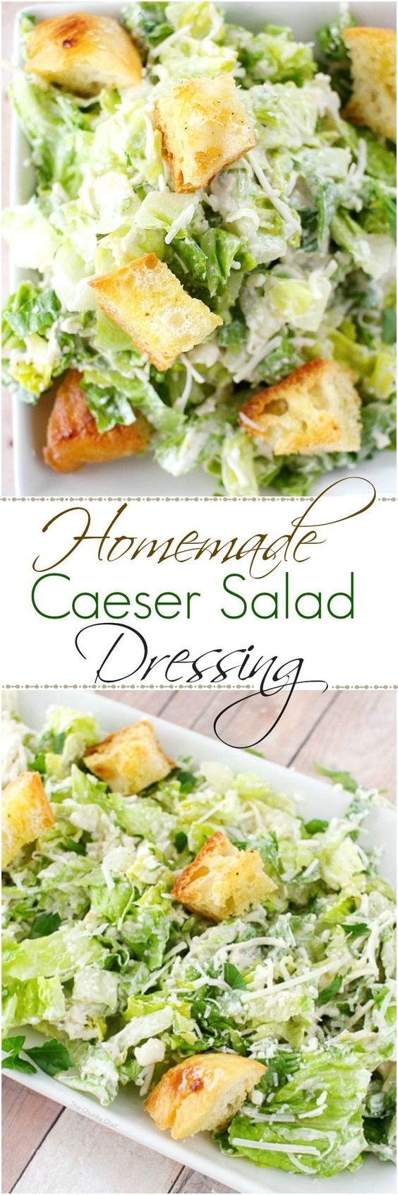 Homemade Caesar Salad Dressing Recipe via The Chunky Chef - Forget about bottled salad dressing, this simple homemade caesar salad dressing is about 1000x better!