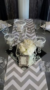 Scroll Centerpiece with Square Mirror Tile | Party Decor ...