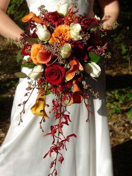 red orange fall wedding bouquet / http://www.himisspuff.com/fall-wedding-ideas-themes/7/: