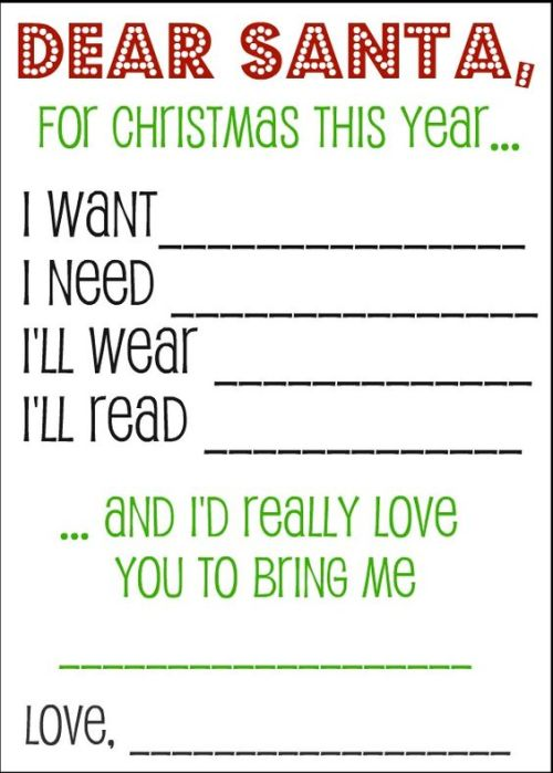 Cute Christmas List for Kids and a Letter to Santa. Something they want, something the need, something they wear, something they read! From somewhatsimple.com