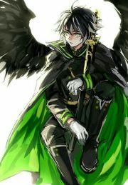 anime boy black hair green cape