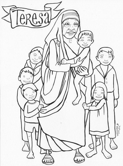 Mother teresa, Coloring pages and Coloring on Pinterest