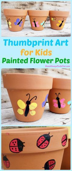 Thumbprint Art Project For Kids - Easy craft idea! Painted flower pots make cute homemade Mother's Day Gifts. Crafts: