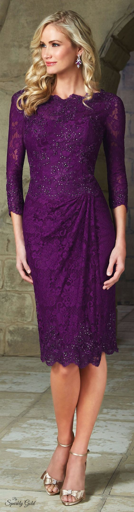 Purple mother of the bride dresses. Long 3/4 sleeve