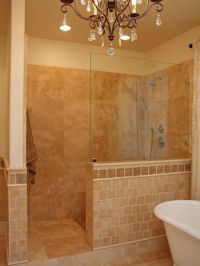 walk in tile shower without door | ... tiles in ...