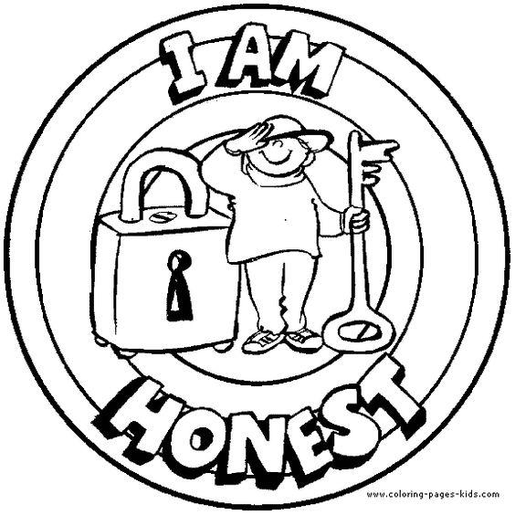 I am honest Morale Lesson color page, education school