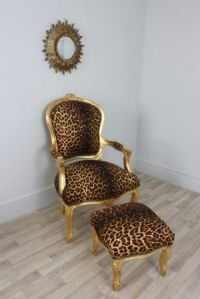 Louis Gold Leopard - Leopard Print Louis Style Salon Chair ...