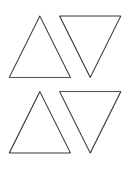 4 inch triangle pattern. Use the printable outline for