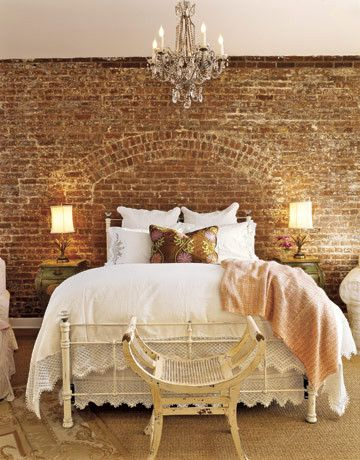Faux Brick Wall- Perfect for a sexy mood for the bedroom. And would look great with my Moroccan lamps!: