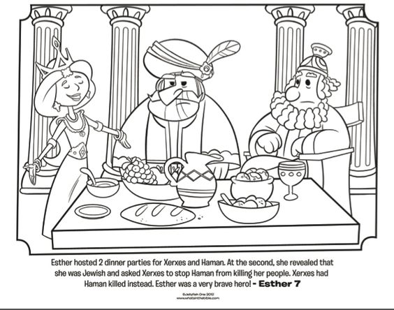 Dinner parties, Queen esther and Bible coloring pages on