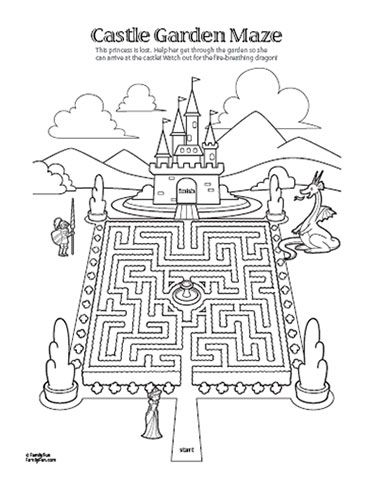 Royal printable...maze with castle, knight, dragon? #