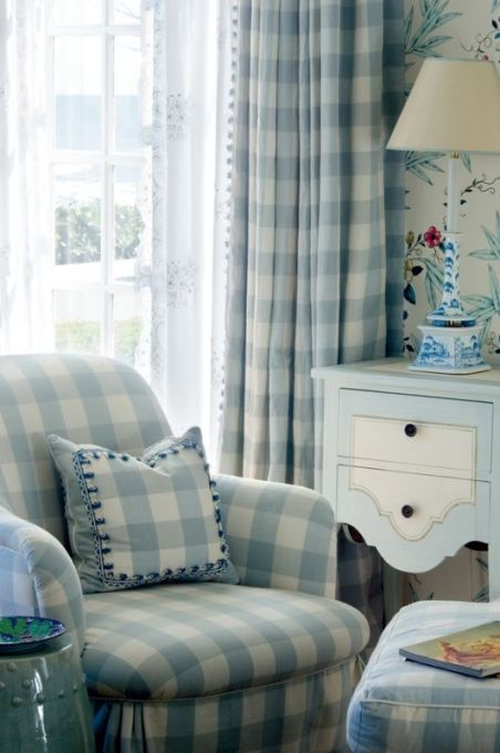 blue and white ~ love the little table: