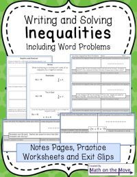 Inequalities - Notes and Practice (Includes Word Problems ...