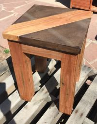 Walnut Brown Concrete table top with wood inlay. Table top ...