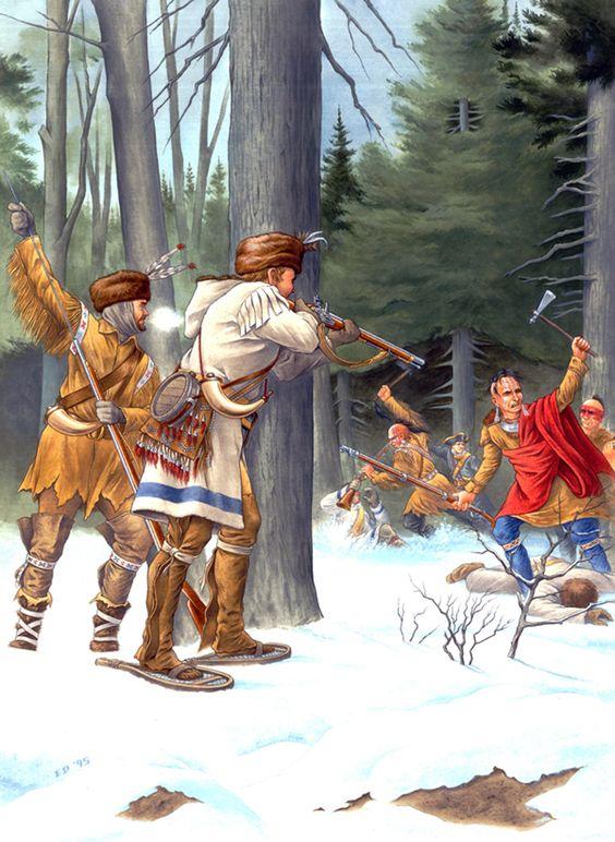 Rangers des colonies américaines au contact avec les indiens Wabenaki et Algonquins et un soldat français (Illustration Patrick Tasse).