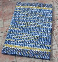 Handmade Twined Rug - Blue Yellow and White Woven Cotton ...
