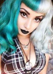 green alternative hair and white
