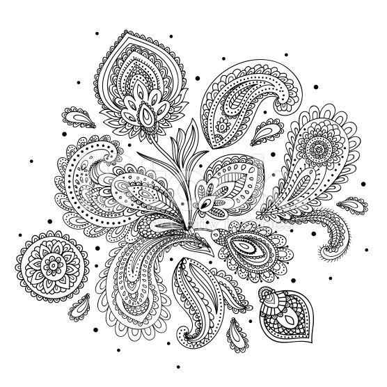 Beautiful Indian paisley ornament royalty-free stock