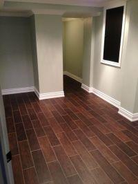Hardwood floor alternative. Hardwood styled tile dark ...