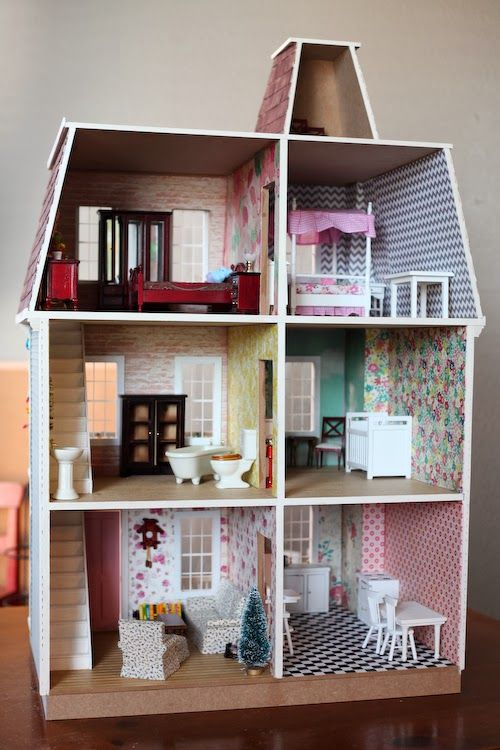 Build A DIY Dollhouse From Hobby Lobby Wallpaper Is