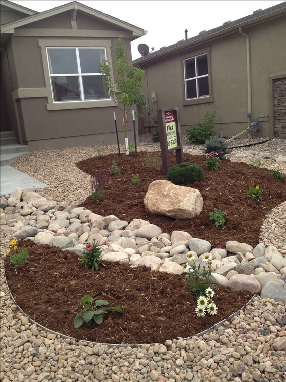 front yard xeriscape replace gravel with grass