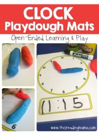 Telling Time - Clock Playdough Mats - learn to tell the time activity: