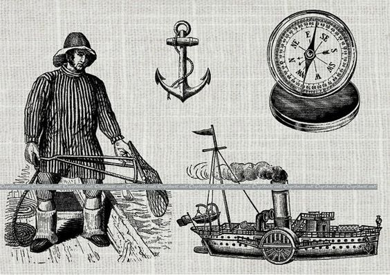 Antique Nautical Collage Sheet clip art Fisherman by