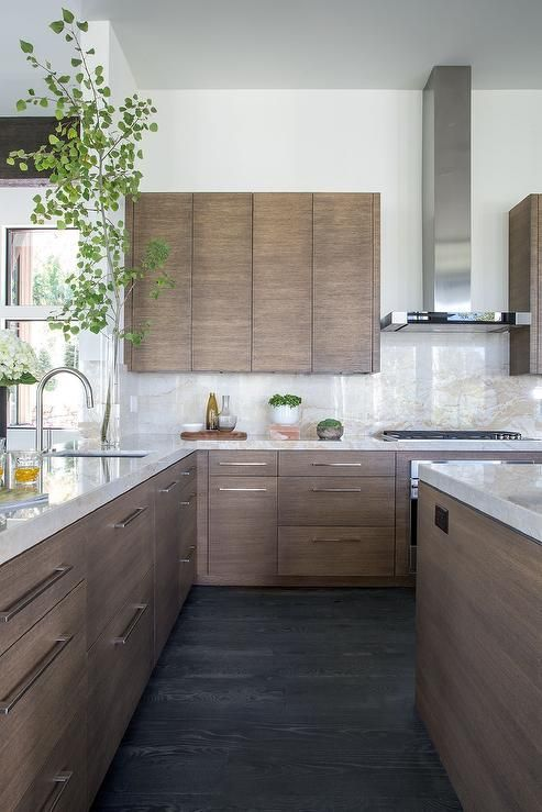 Walnut Stained Flat Front Kitchen Cabinets with White and